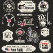 Rock music badges and labels — Stockvektor