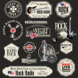 Rock music badges and labels — Stock Vector #26838313