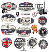 Rock music badges and labels — Stock Vector