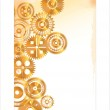 Golden Gears in motion background — Stock Vector