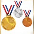 Stock Vector: Medals - Gold, Silver And Bronze