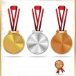 Medals - gold, silver and bronze — Stock Vector