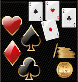 Set of shiny card suit icons and golden poker chips — ストックベクタ