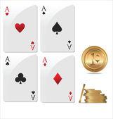 Asso poker con fiches da poker d'oro — Vettoriale Stock