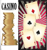 Poker cards and chips — Stock Vector