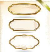 Molduras douradas em estilo vintage — Vetor de Stock