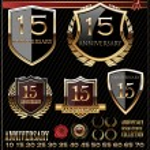 Anniversary sign collection, retro design — Stock Vector #26852571