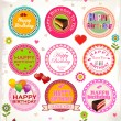 Stock Vector: Happy birthday stamp collection