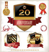 Anniversary sign collection, retro design — Vetor de Stock