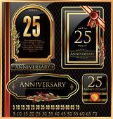 周年記念コレクションの署名、レトロなデザイン — ストックベクタ