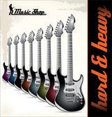 Sfondo di chitarre elettriche — Vettoriale Stock