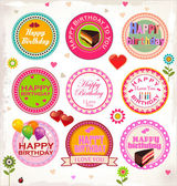 Happy birthday stamp collection — Stock Vector