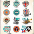 Stock Vector: Music labels and badges