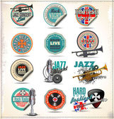 Music labels and badges — Stock Vector