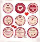 Valentines Day Labels. Vector illustration. — Vettoriale Stock