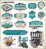 Jazz music badges and labels — Stock Vector
