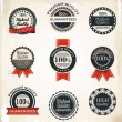 Collection of Premium Quality and Guarantee Labels with retro vintage styled design — Stock Vector