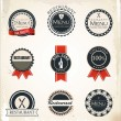 Set of vintage retro restaurant badges and labels — Stock Vector