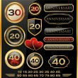 Anniversary golden labels and additional elements — Stock Vector #27098385
