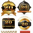 Anniversary golden labels set — Stock Vector #27099599