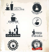 Restaurant and cafe labels — 图库矢量图片