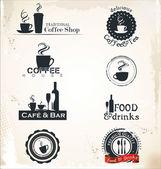 Rótulos de restaurante e café — Vetor de Stock