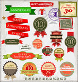 Retro style anniversary sign collection — Stock Vector
