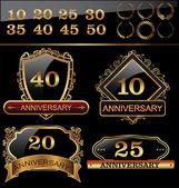 Anniversary golden label set — Stock Vector