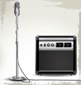 Electric guitar amplifier and retro microphone background — ストックベクタ
