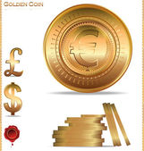 Gold coins. Dollar, euro and pound — Stock Vector