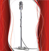 Background for design with a retro microphone — Stock Vector