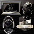Vintage vector black gold frame restaurant label — Stock Photo