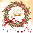 Red bubble christmas wreath vector illustration — Stock Vector #27104365