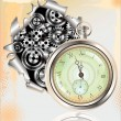 Old Watch and gears in motion — Vector de stock