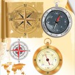Compass rose and glossy compass, set — Imagen vectorial