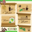 Vintage retro coffee badges and labels and old paper — Stock Vector