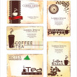 Set of 5 business cards for cafe — Stock Vector