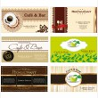 Set of 6 detailed business cards for cafe and restaurant — Stock Vector