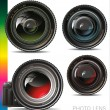 Camera photo lens, no transparency — Stock Vector