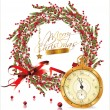 Red bubble christmas wreath and golden old watch — Stock Vector