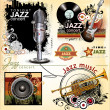 Grunge jazz music banner set — Vector de stock #27104861