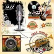 Grunge jazz music banner set — Vettoriale Stock #27104861