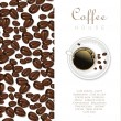 Coffee beans and cup of coffee background isolated on white vector illustration — Stock Vector