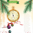 Christmas background with old pocket watch detailed illustration. — Stock vektor