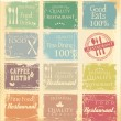 Vintage retro restaurant labels in pastel colors — Stock Vector