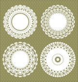 Set for round lace doily — Stock Vector