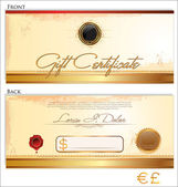 Gift certificate template, front and back design — Stock Vector