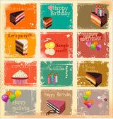 套的蛋糕卡模板 — 图库矢量图片