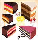 Cute delicious cake slice set — Stock Vector