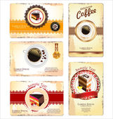 Coffee,tea and cakes menu or business card template — Stock Vector